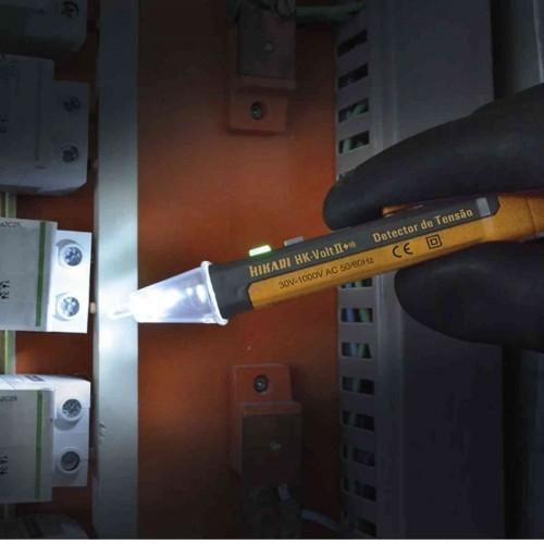 Detector de Tensão HK-Volt II 30 a 1000V Bip LED e lanterna