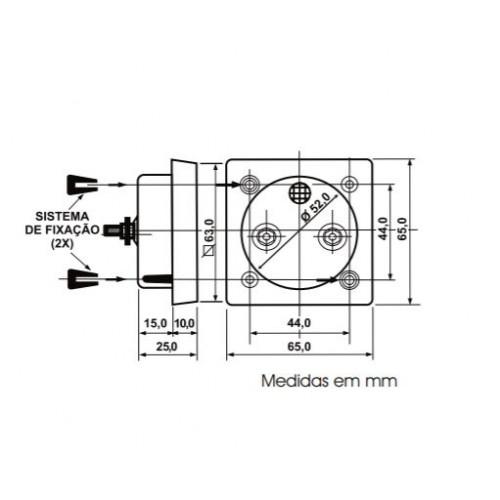 Amperimetro Analógico Renz QR65 0 a 10A - CA - Ferro Móvel