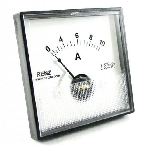 Amperimetro Analógico Renz QR65 0 a 50A - CA - Ferro Móvel