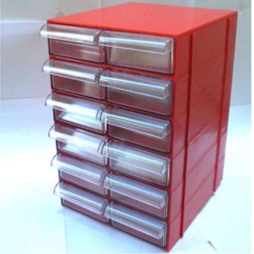Gaveteiro CG612 Vermelho Com 12 Gavetas E 60 Divisórias
