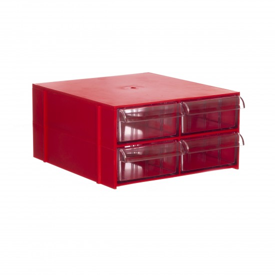 Gaveteiro CG. 204 Vermelho Com 4 Gavetas E 20 Divisórias