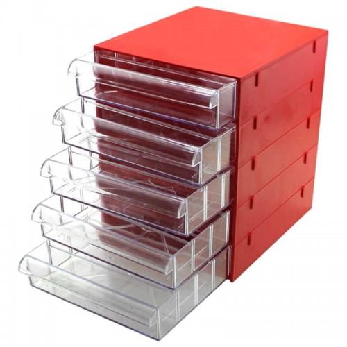 Gaveteiro CG505 Vermelho Com 5 Gavetas E 25 Divisórias