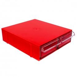 Gaveteiro CG102 Vermelho Com 2 Gavetas E 10 Divisórias