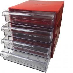 Gaveteiro CG404 Vermelho Com 4 Gavetas E 20 Divisórias
