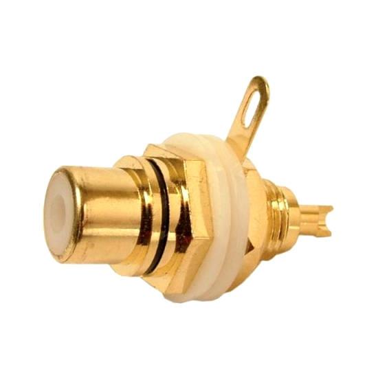Jack RCA Para Painel Preto Gold (Dourado)