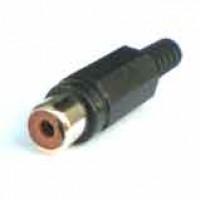 Jack RCA Preto Para Cabo (Plug RCA Fêmea Plástico Para Cabo)
