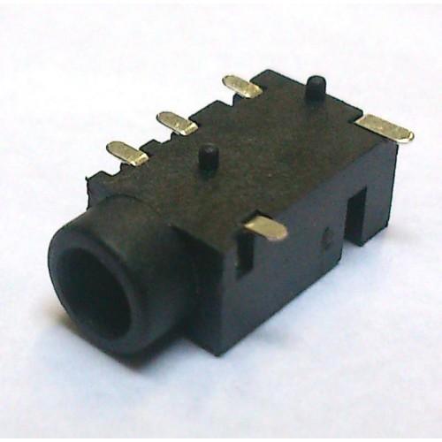 Conector Jack Smd PJ-320EA 3,5mm 5T Prata