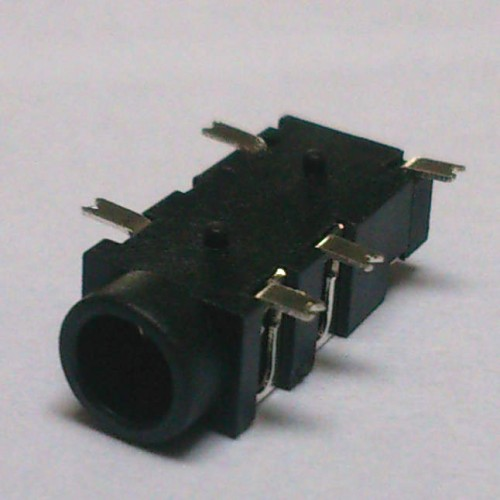 Conector Jack Smd PJ-327A-3 3,5mm 5T Prata