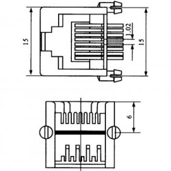 Jack RJ45 8P8C Para Placa (YH55-05-B)