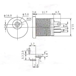 Jack J4 Redondo Pino 2,1mm Diametro 5,5mm Com Rosca modelo DC-022