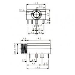 Jack J2 Estereo Para Placa Com Rosca PJ-324