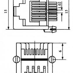 Jack RJ45 8P6C Para Placa (YH55-05)