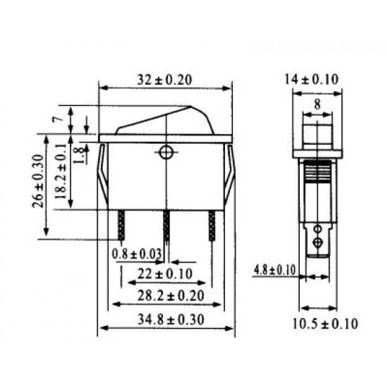 Chave Gangorra KCD3-102N Vermelha Com Neon E Marcação
