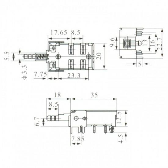 Chave Tecla KDC-A13-2 4T Para PCI Com Trava