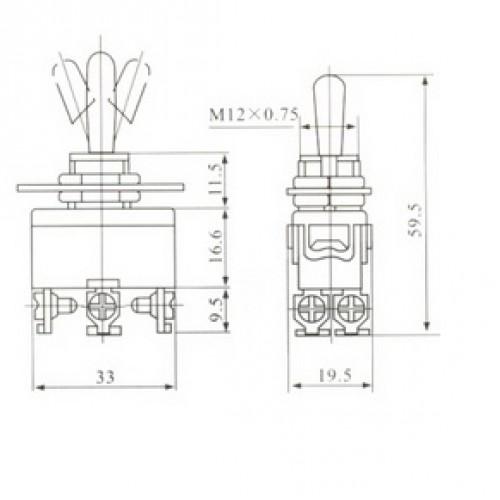 Chave Alavanca KN-223 Pulsa Dois Lados (L/D/L)