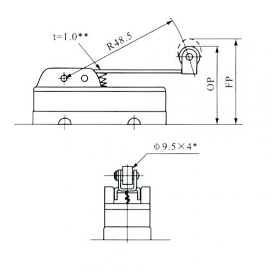Chave Micro Switch KW15GW22-B Com Aste Longa e Roda