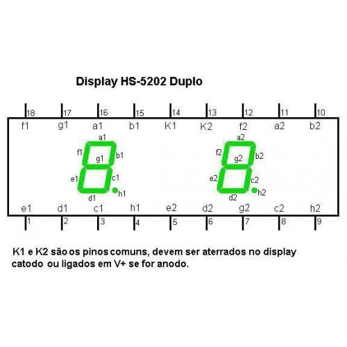 Display De Led Vermelho Catodo Duplo HS-5202AS