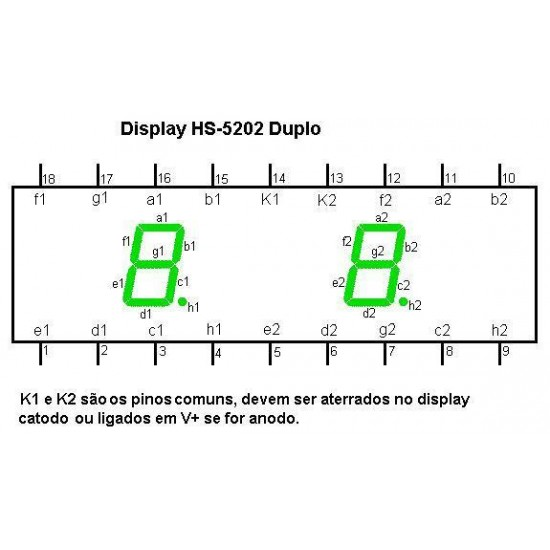 Display De Led Vermelho Catodo Duplo HS-5202AS