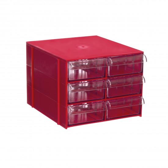 Gaveteiro CG. 306 Vermelho Com 6 Gavetas E 30 Divisórias