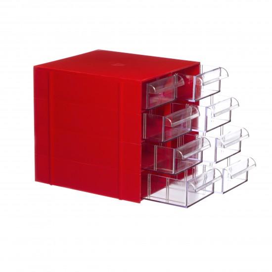 Gaveteiro CG. 408 Vermelho Com 8 Gavetas E 40 Divisórias