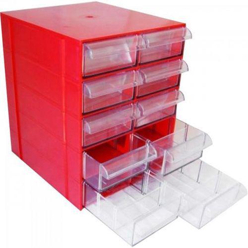 Gaveteiro CG510 Vermelho Com 10 Gavetas E 50 Divisórias