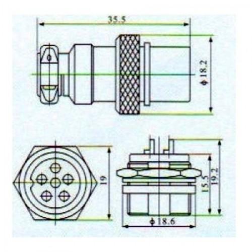 Conector Mike LS-3005-3012 6 Vias Prateado Macho E Femea