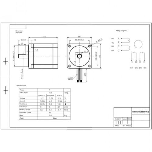 Motor De Passo Nema 34 90kgf.cm 5,88A 1,8G SM1.8-E8590-CS