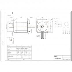 Motor De Passo Nema 34 - 90kgf.cm 5,88A 1,8 Grau SM1.8-E8590P-CS (Eixo Duplo)