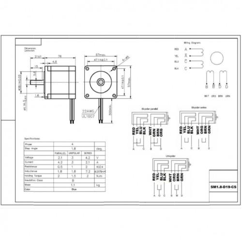 Motor De Passo Nema 23 19kgf.cm 4,2A 1,8 Grau SM1.8-D19-CS