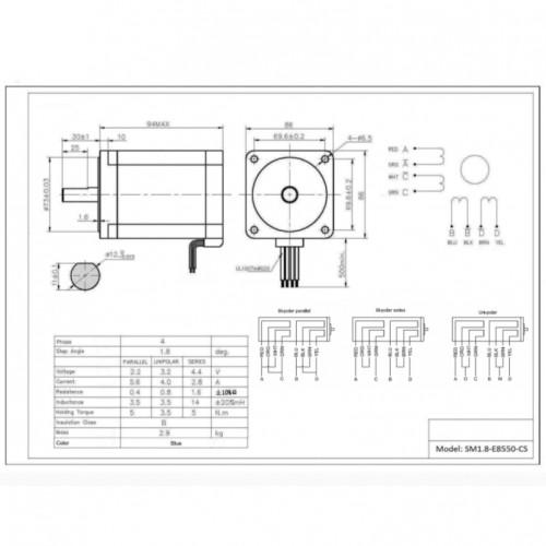 Motor De Passo Nema 34 - 50kgf.cm - 2,8A - 1,8 Grau - SM1.8-E8550-CS