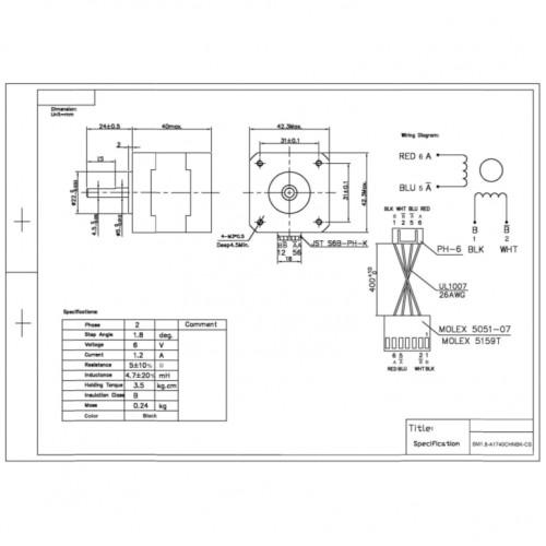 Motor De Passo Nema 17 - 3,5Kgf.cm - 1,2A - 1,8 Grau - SM1.8-A1740CHNBK-CS