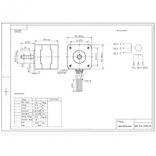 Motor De Passo Nema 17 - 2,8Kgf.cm - 0,77A - 1,8 Grau - SM1.8-A1740IN-CS