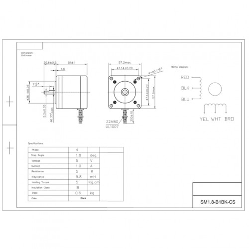 Motor De Passo Nema 23 - 5kgf.cm - 1A - 1,8 Grau - SM1.8-B1BK-CS