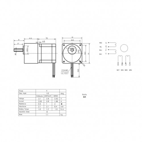 Motor De Passo Nema 23 - 57kgf.cm - 3,92A - 1,8A -1,8 Grau - SM1.8-D19GR3-CS