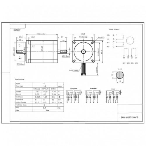 Motor De Passo Nema 34 120kgf.cm 5,5A 1,8 Grau SM1.8-E85120-CS (Eixo Duplo)