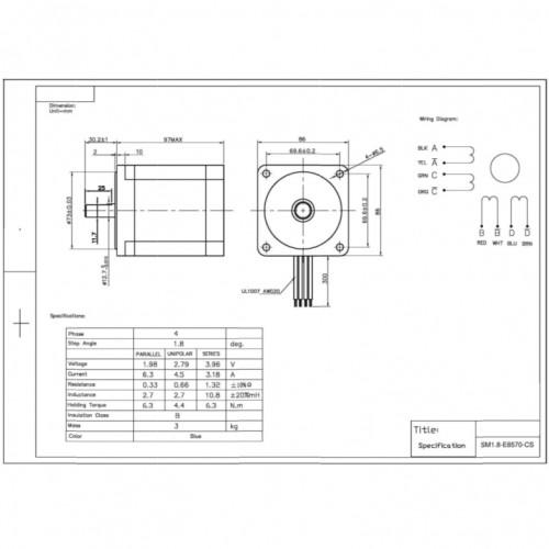 Motor De Passo Nema 34 - 63kgf.cm - 6,33A - 1,8 Grau SM1.8-E8570-CS