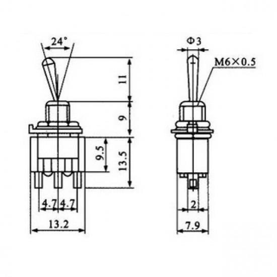 Chave Alavanca MTS101 (2T Liga/Desliga)