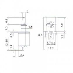 Chave Alavanca MTS202-C3 Para Placa
