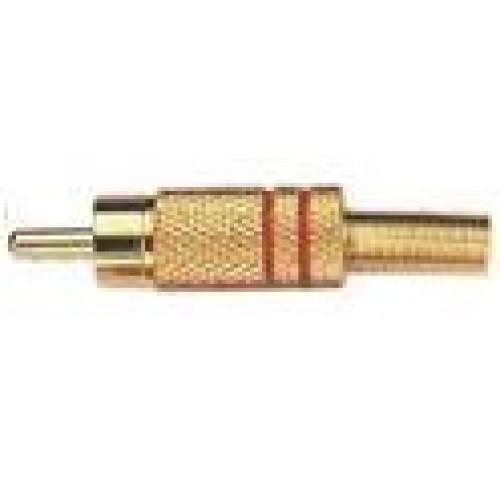 Plug RCA Dourado Vermelho