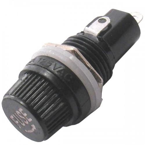 Porta Fusivel Pequeno 5x20mm Preto BLX-1 Para Painel
