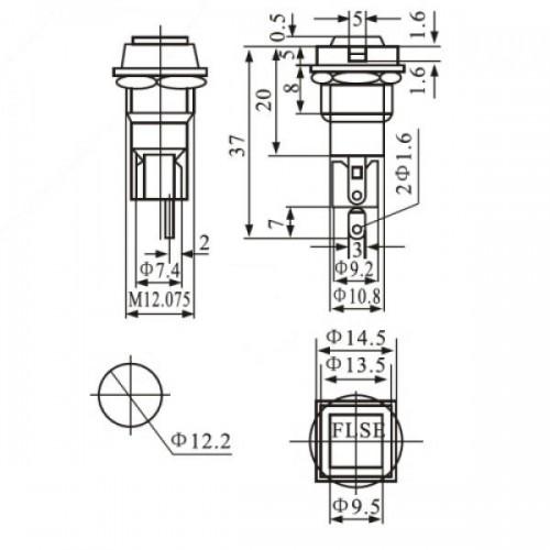 Porta Fusivel Pequeno Preto FH-101 Para Painel Chanfrado