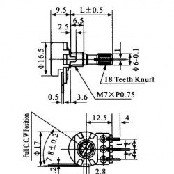 Potenciometro Linear Mini 5K L20
