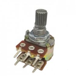 Potenciometro Linear Mini Duplo 100K L15 6T (WH148-2)