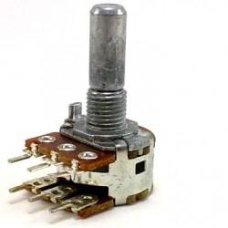 Potenciometro Linear Mini Duplo 100K L20 6T Eixo Liso