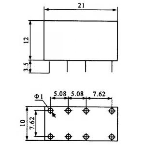 Relê JRC-19F 12V 2 Pólos 2 Posições 8 Terminais 1A 120V