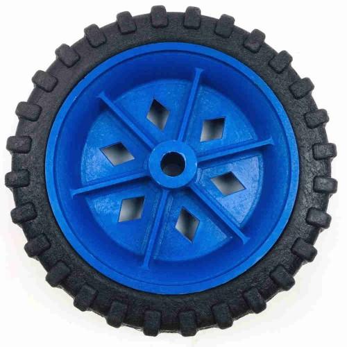 Roda De Plástico 6 Polegadas Sem Rolamento Azul Eixo 5/16