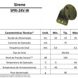 Sirene Automotiva De Ré SPRI-24V-W (Sinalizador Acústico)