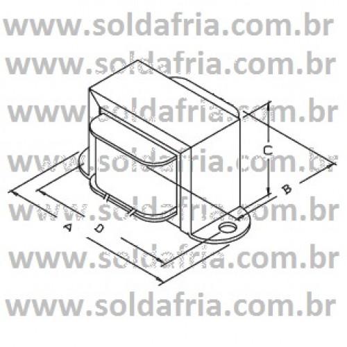Transformador 6+6V 500mA - Entrada 110/220VAC
