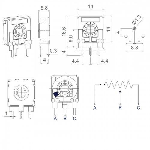 Trimpot 100 Ohms (100R/101) Vertical 14mm