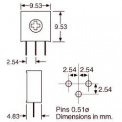 Trimpot 3386H 100K Ohms (100K/104) 1 Volta